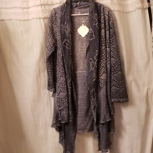 NWT Simply Couture blue cardigan large NEW